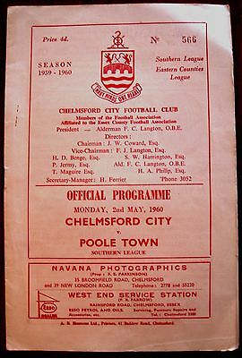 Chelmsford City v Poole Town 1959/60 Southern League programme.
