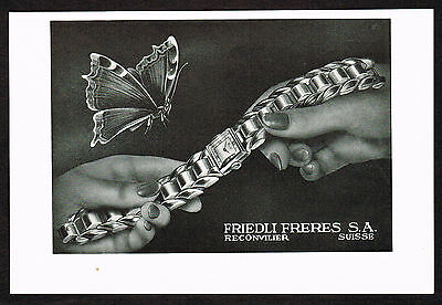 1940's Vintage 1947 Friedli Freres Watch Co. - Paper Print AD