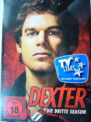 "4 DVD - BOX ""DEXTER"" -SEASON/STAFFEL 3+neu+ovp+FSK 18"