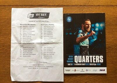 WYCOMBE WANDERERS V ACCRINGTON STANLEY 30th APRIL 2016 PROGRAMME