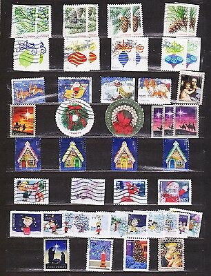 USA 49 Different  Used forever xmas 2010 to 2016  stamps off paper