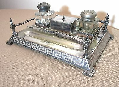 antique 1800's silverplate ornate inkwell writing stand set letter opener jar