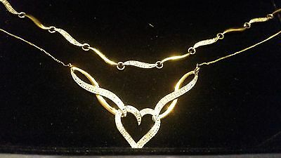9ct Gold and Diamond Necklace and Bracelet Set - New