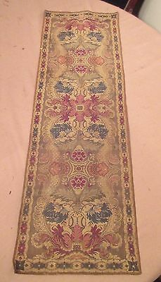 antique ornate embroidered centerpiece table mat runner linen needlepoint 37 in.