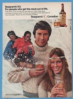 1971 Seagram VO Whisky Toboggan Photo Vintage 1970s fashion print Ad
