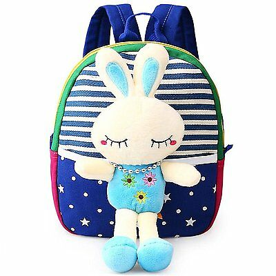 MATMO 3D Cute Cartoon Little Plush Baby Backpack Baby Toy Bag Royal Blue Rabbit