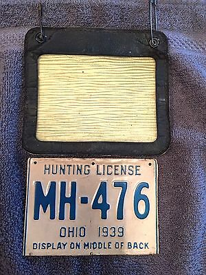 1939 Ohio Hunting/Trapping License-Vintage Metal License & Holder # MH-476 Rare