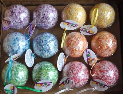 12 x Ball Shaped Bath Confetti Mixed Colors/Scents Pampering Bathing Set Scented