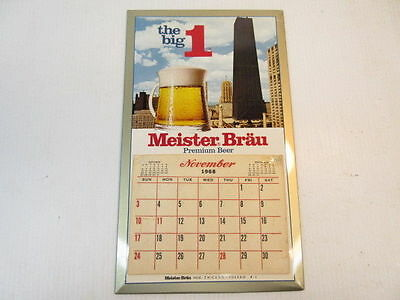 "1969 Meister Bräu ""The Big 1"" Beer TOC 14 month calendar Sign 9½ x 16 inch"