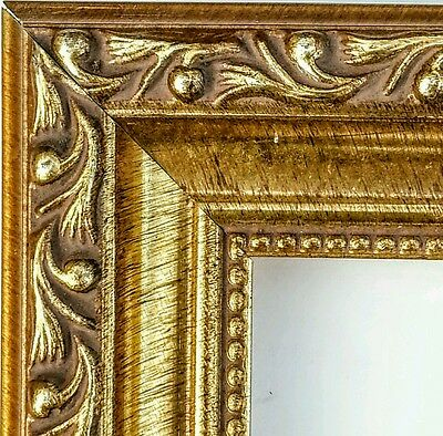 36 ft - Gorgeous Ornate ANTIQUE GOLD Picture Frame Moulding, Beaded Lip, Wood