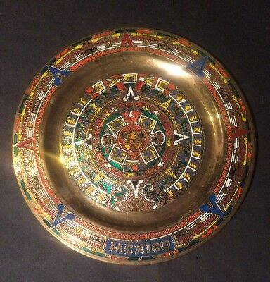 Vintage Collectible Mexician Multicolor Gold  Plate Wall Decor