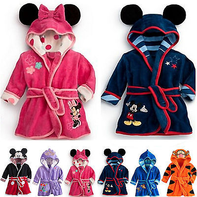 Toddler Girls Kids Boys Warm Nightwear Bath Robe Sleepwear Homewear Pajamas 1-6Y