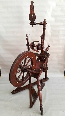 ANTIQUE UNIQUE PRIMITIVE OLD WOODEN SPINNING WHEEL (with wooden encrustment)