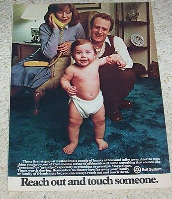 1980 ad page - Bell System telephone cute baby diaper VINTAGE Print ADVERT