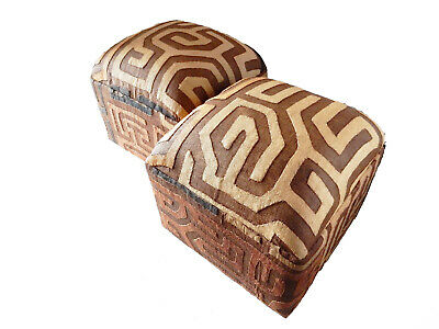 "Superb African Upholstered Kuba Ottomans - a Pair 16.5"" H"