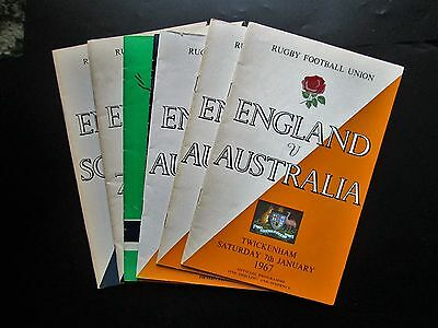 Rugby Football Programmes 3 x England v Australia plus 4 others