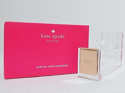 NWT Kate Spade New York Strike Gold Tape Dispenser Acrylic 14k plated GIFT BOX