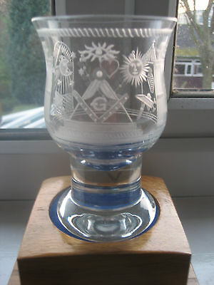 Masonic Goblet Superbly Hand Engraved By Wheel Method With Numerous Symbols