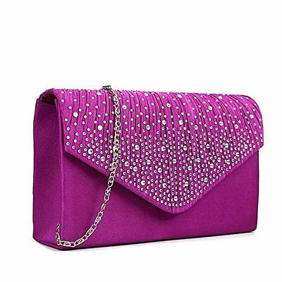 Miss Lulu Ladies Diamante Clutch Evening Bridal Wedding Bag Handbag (Purple)