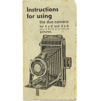 Vintage The Duo Folding Film Camera Guide Manual Instruction Book