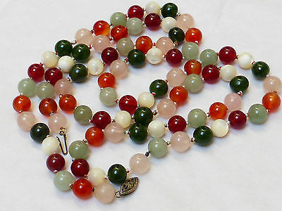 Chinese Vintage Jade, Carnelian, Quartz, Mother Of Pearl Mixed Beads Necklace