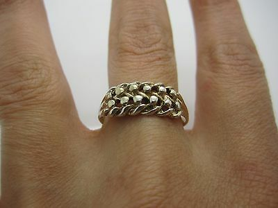 SIZE U VINTAGE STUNNING SOLID SILVER PIERCED CELTIC STYLE WEAVE RING 925 - 2.7 g