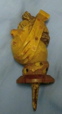 Antique Black Forest Carved Wooden Lady with toothache, Head Bottle Stopper