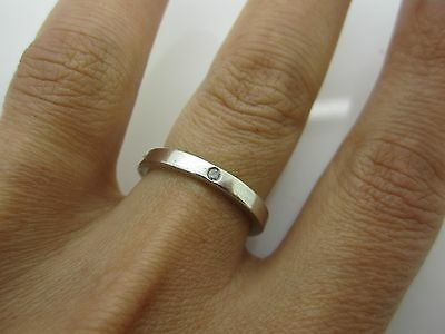 SIZE N 1/2  SOLID SILVER WEDDING Ring SET WITH SMALL CENTRAL STONE DIAMOND ? 925