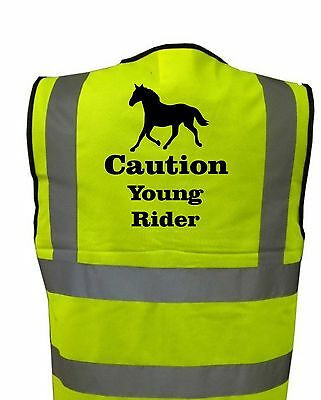 Childs HI-VIZ PRINTED HORSES Young Rider Pony SLOW SAFETY WEAR FOR RIDING
