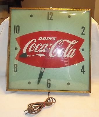 Vintage Coca Cola Fish Tail Pam Clock with Bubble Glass