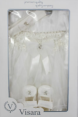 Ivory Dress Shoes & Headband Christening Wedding New Baby Gift Boxed 9-12 Months