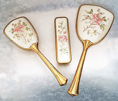 Vintage~Brass pink & green embroidered 3-piece vanity dressing table set-VGC