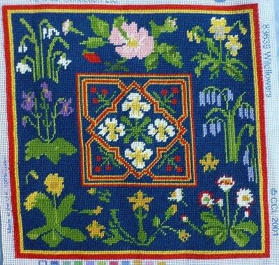 vtg hand embroidered tapestry needlepoint William Morris style Wildflowers