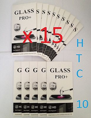 Joblot of 15 pcs - Tempered Glass Screen Protector for HTC 10 / HTC M10 *NEW*