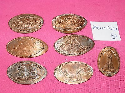 7 ASSORTED MOUNTAIN THEMED Elongated Coin Rolled Pressed Smashed Pennies