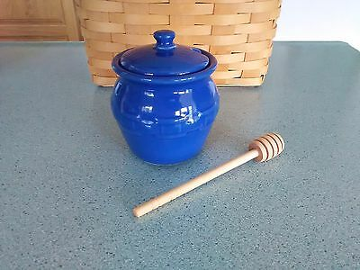 Longaberger Pottery Cornflower blue Honey Pot, Lid, and drizzle stick NEW in box
