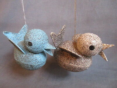 vintage  Mica EASTER CHICK Egg Candy Container Ornaments (2)