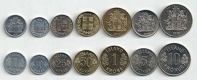 Iceland 7 Coin Type Set Seventies Uncirculated