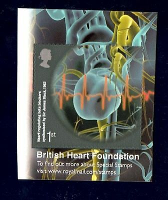 GB QEII MNH EX BOOKLET STAMP 2015 SELF ADHESIVE HEART FOUNDATION SG 3186a