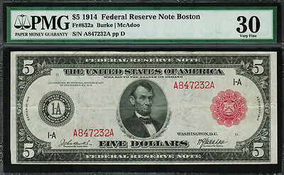 1914 $5 Federal Reserve Note Boston FR-832a - RED SEAL - PMG 30 - Burke/McAdoo