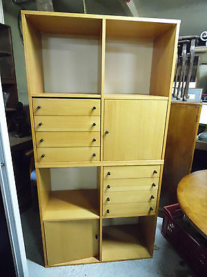 Modern Beech Combination Bookcase Storage Unit 2 Section Tidy Condition
