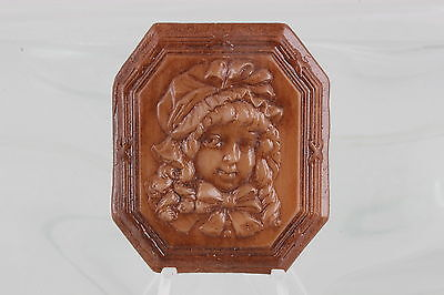 Embossed Design Girl On Wood Colored Framed Unmounted Cameo 0521B