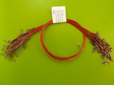 """25 DFS 316 STAINLESS STEEL WIRE TRACE RED 18"""" 30LB fishing tackle"""