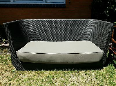Rattan Wicker Outdoor Sofa Circuler Woven Couch Charcoal 2/3 Seater Furniture