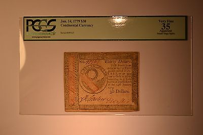 Continental Currency January 14, 1779 $30 PCGS Apparent Very Fine 35.