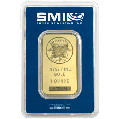1 oz Sunshine Gold Bar (New w/ Assay, MintMark SI)
