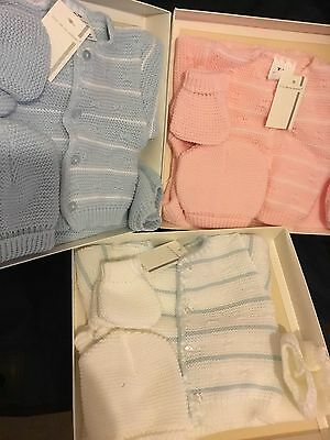 Spanish Newborn Baby Boys Girls Knitted Cardigan Pram Set 4 Pce Pink Blue White