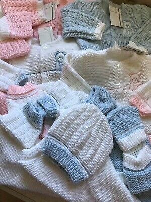 Spanish Baby Girls Boys Knitted Cardigan Pram Set Pink Blue Newborn 4 Piece Hat