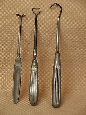 Lot 3 Antique Adenoid Curette Medical Surgical Instruments – Different Sizes