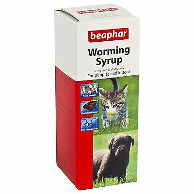 Beaphar Worming Syrup Wormer Treatment for Dogs & Cats 45ml x 2 Pack